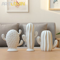 New Arrivals Nordic White Ceramic Decorative Cactus Figurine Plant Ornaments Modern Simple Design Prickly Pear Home Decorations