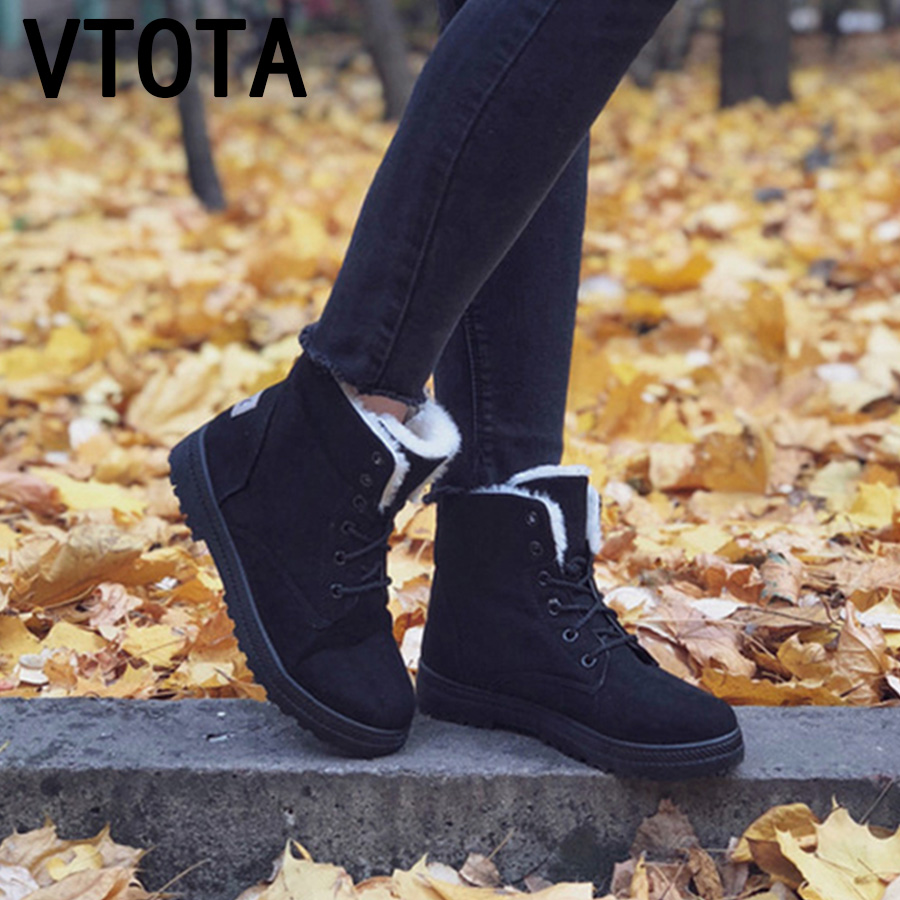 VTOTA Women Snow Boots Warm Winter Boots Botas Mujer 2018 Flat Lace Up Fur Ankle Boots Platform Ladies Winter Shoes Black H189 vtota martin boots women fashion women boots thick with ankle boots shoes woman botas mujer platform ankle boots for women d2