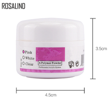 ROSALIND Professional Acrylic Powder Crystal Nail Art Tips Builder Transparent Powder Manicure Pink White Clear