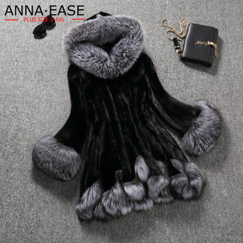 Plus Size S-6XL Women Artificial Fur Coat Hooded Female long Silver Fox Fur Collar Rabbit Fur Jacket Outerwear Winter Coat