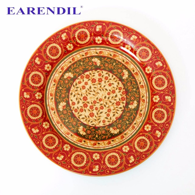 EARENDIL 1pc Palm leaves Pattern Plate Dish Persian Style Ceramic Tableware Pattern Dinnerware Cake Plate  sc 1 st  AliExpress.com : leaves dinnerware - pezcame.com