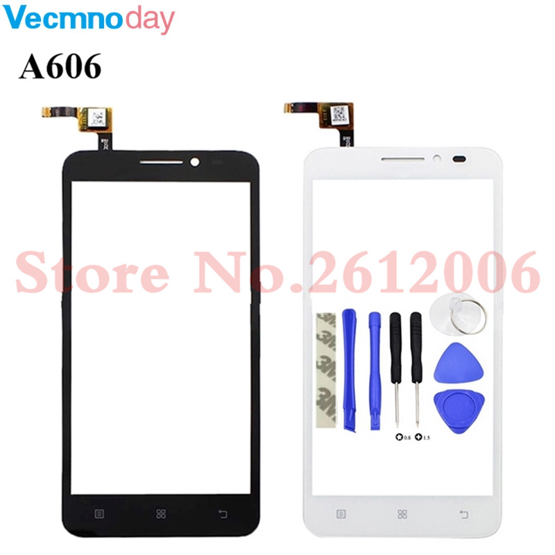 Mobile Phone Touch Panel For Lenovo A606 A 606 Touch Screen Digitizer Panel Front Outer Glass Lens Sensor + Adhesive
