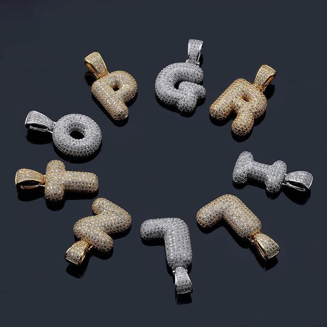 Cubic Zircon Letters Pendant Necklaces 6