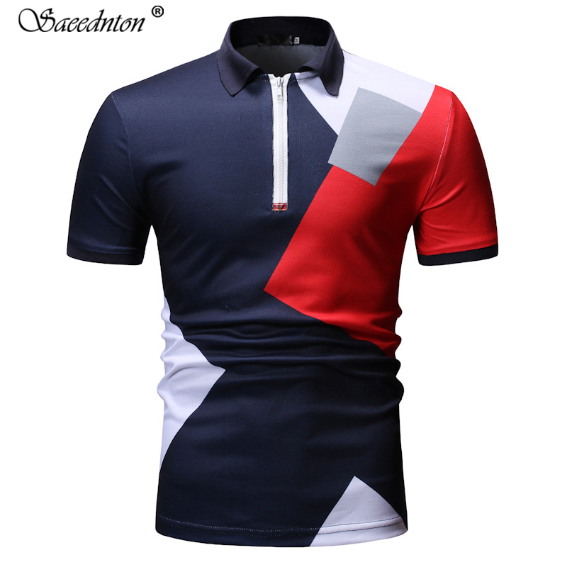 2019 Summer New Men's Fashion Cotton Patchwork   Polo   Shirt Men European Short-sleeved Casual Slim Fit Homme Tops Tees Clothes