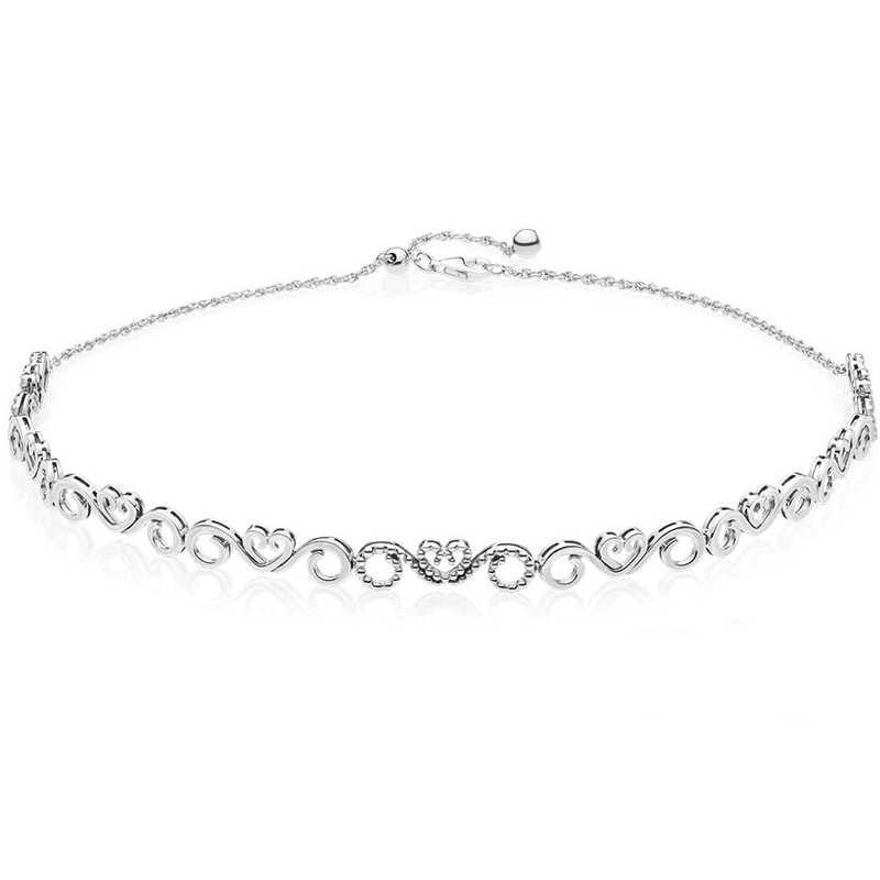 6ebaac894 ... Honeycomb Shine Honeybee Heart Swirls Woven Fabric Choker Necklace For  Women Gift Pandora Jewelry 925 Sterling