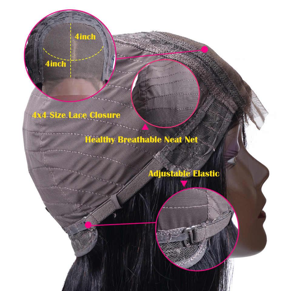 Синтетические волосы на кружеве человеческих волос парики 4x4 закрытие кружева парик бразильский Прямо Синтетические волосы на кружеве парики предварительно сорвал с волосы младенца 150% Densty