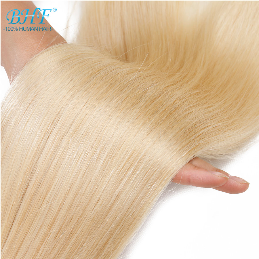 BHF Double Drawn Platinum Blond Hair Weave Extensions Straight Remy Human Hair Weft 24