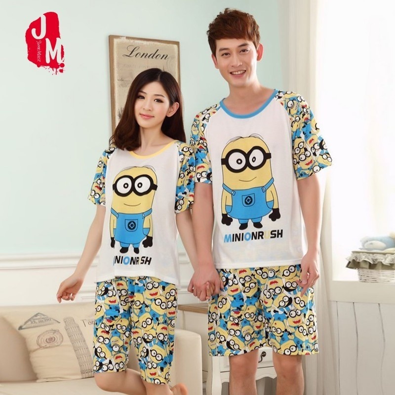 Summer Short   Pajama     Sets   For Man And Women Cotton Cartoon Animal Home Wear Sleepwear Suit Lovers Couple Pyjamas