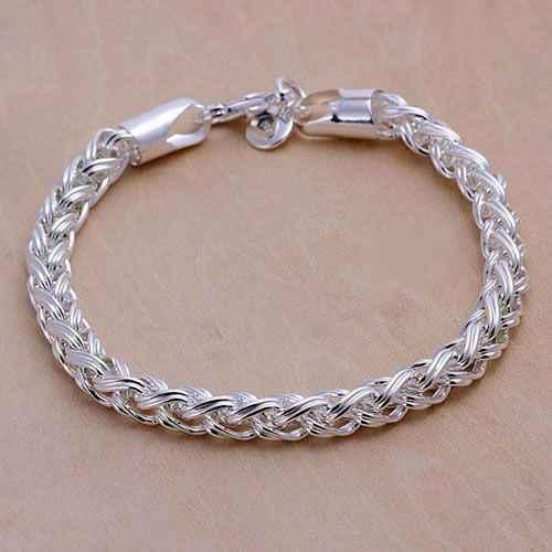 H070 925 trang sức vòng đeo tay mạ bạc, 925 trang sức mạ bạc trang sức thời trang Xoắn Vòng aloajcva dxeamola