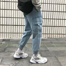 Men's jeans summer 2019 new slim lettering embroidery work jeans loose casual nine-point pants personality youth men's wear
