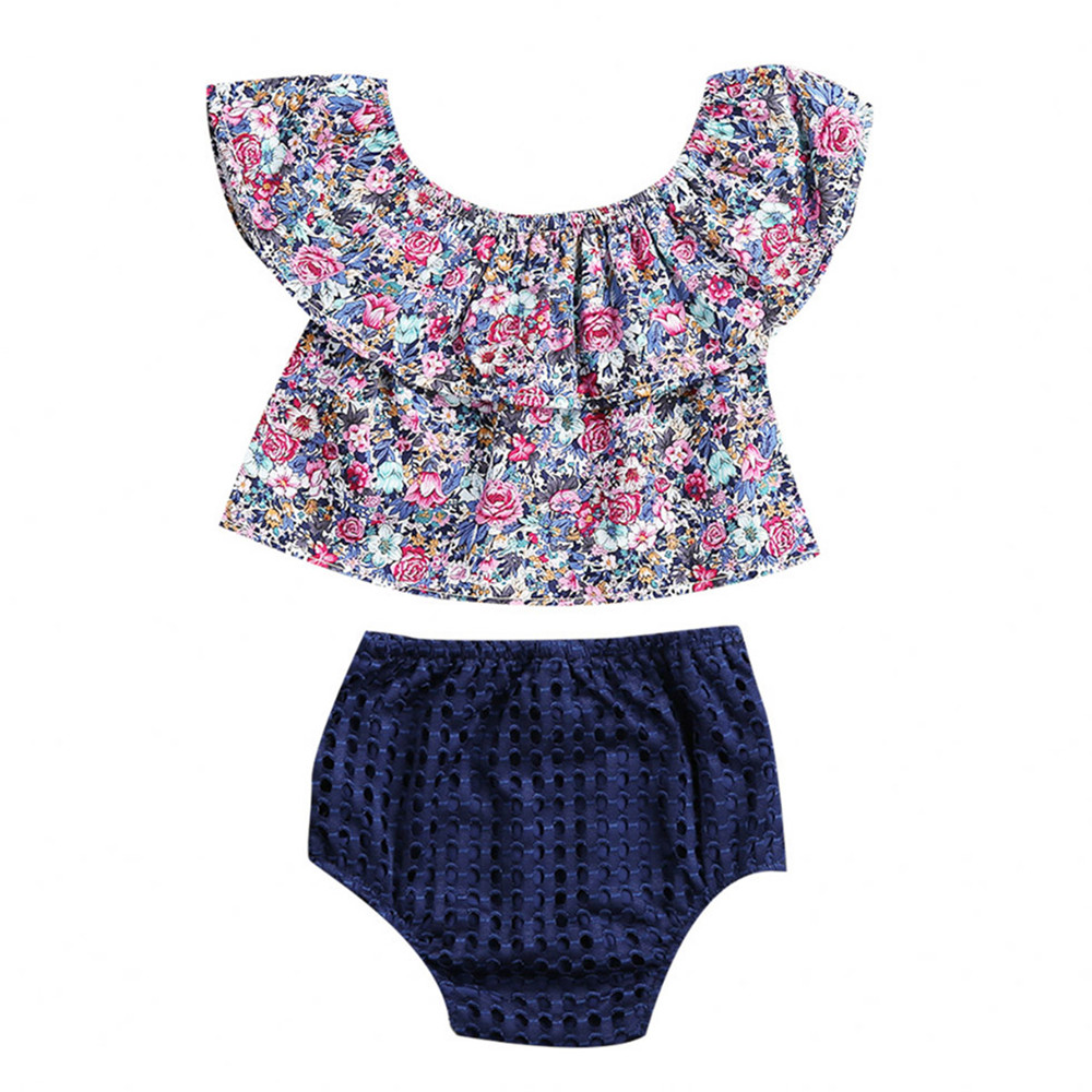 Toddler Infant Baby Girls Clothes Summer Off Shoulder Floral Sleeveless Tops Romper Shorts Outfits Baby Clothing