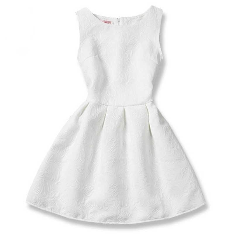 Floral Summer Trẻ Em Ăn Mặc Tutu Rắn quần áo Giản Dị cho Cô Gái Slim Kid Flower Girl Dresses Mát Không Tay Trường Hàng Ngày Ăn Mặc