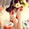 Hot Selling Women Sandals Fashion Transparent Rhinestone Flower Open Toe Wedges Sandals 30 - 43 Plus Size Women Shoes Clear