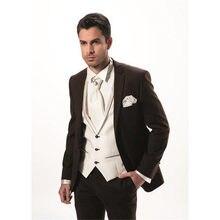 07c359f076cca 2019 Moda Iki Düğme Koyu Kahverengi Damat erkekler Smokin Adam Suit Slim  Fit Sağdıç Damat erkek Takım Elbise (ceket + pantolon +.