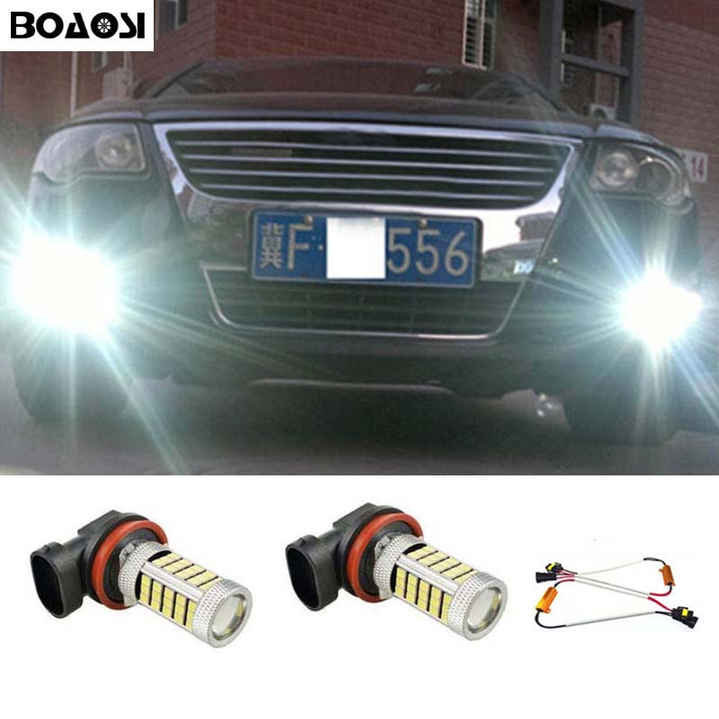 BOAOSI 2x 9006/HB4 LED Fog Light Driving Bulbs No Error For VW Golf 6 MK6 2009-2012 Scirocco 08-on T5 Transporter 2003-2016