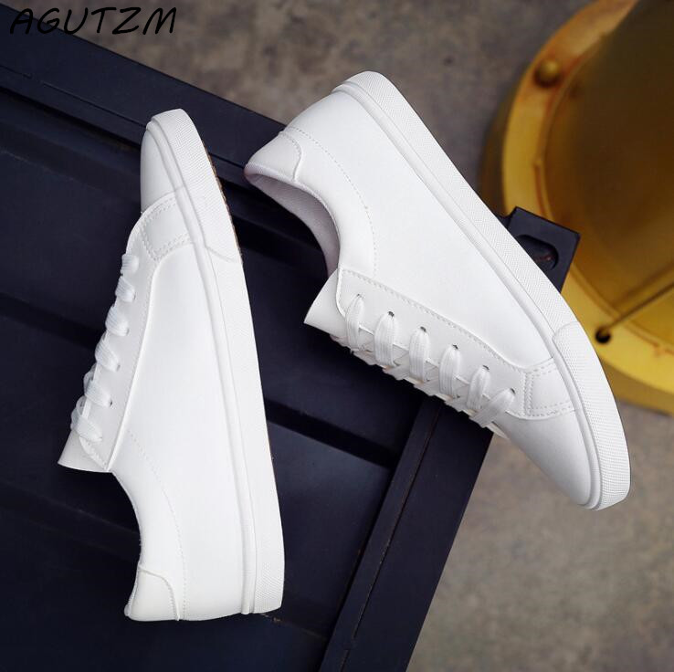 AGUTZM 2018 Spring And Summer New White Shoes Women Fashion Flat Leather Canvas Shoes Female White Board Shoes Casual Shoes free shipping new spring and summer fashion men s denim jeans slim wear white pantyhose feet