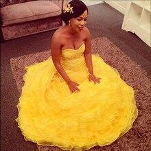 Vestido De Fiesta 2016 Robe De Soiree Yellow Mermaid Abendkleid Liebsten Ärmellose Rüschen Organza Frauen Formales Partei-kleid