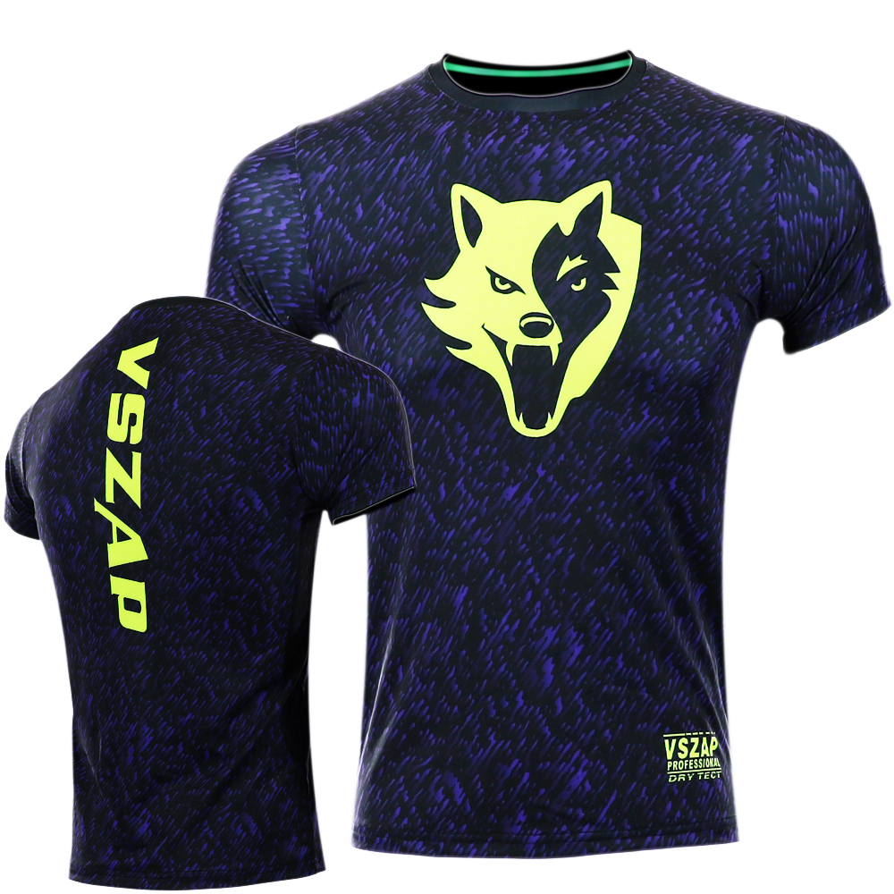 VSZAP Noise Dry Tech t Shirt Fitness clothing Short-sleeved T-shirt MMA Polyester High elasticity muay Thai shirt blue