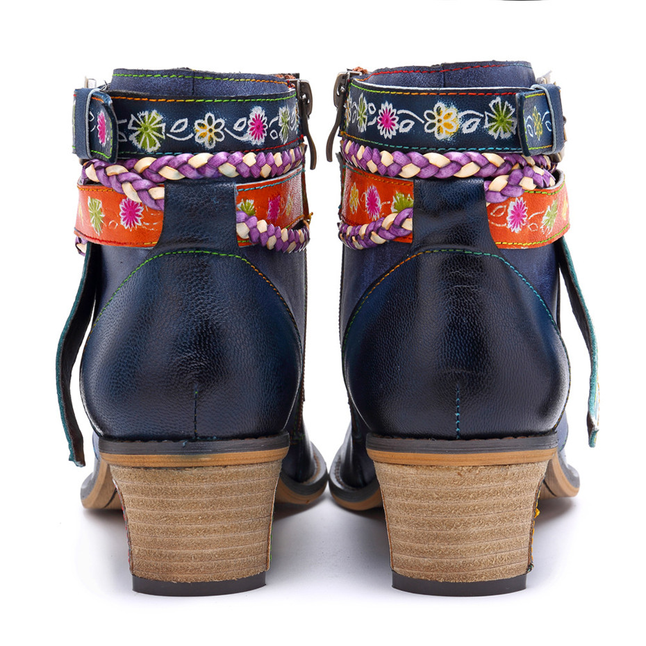 Vintage Bohemian Women Ankle Boots Shoes Side Zip Med Heels Ladies Shoes  Booties Genuine Leather Short Boots Shoe Woman (18)