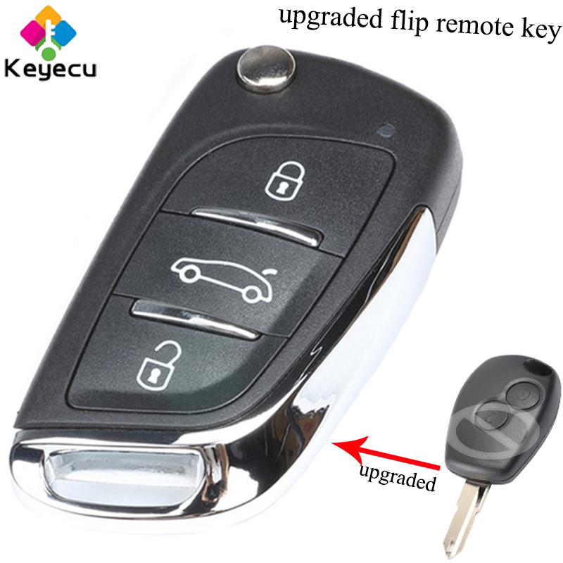 KEYECU Upgraded Folding Remote Car Key - 2 Buttons & 433MHz & PCF7946 Chip - FOB for Renault Clio Kangoo Master Modus 2006-2010 qcontrol car remote key suit for renault master clio twingo kangoo pcf7946 chip 433mhz