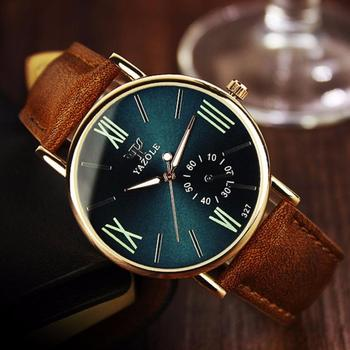 Luxury Fashion Leather Mens Glass Quartz Analog Wristwatch Noctilucent Watches analog watch
