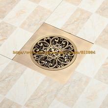 Rushed Deshumidificador Ralo De Banheiro 15cm Bathroom Shower Drain Floor Trap Waste Grate Antique Brass Drainer Artistic Cover