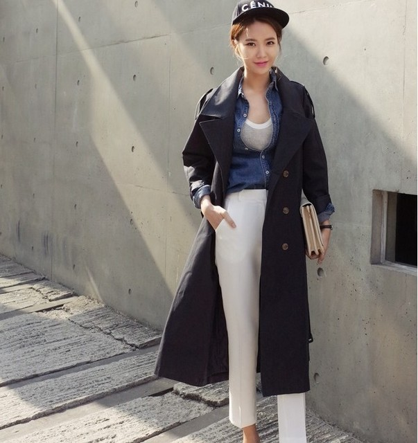 43ae87ee3b7d9 OYCP Maxi Long Trench Coat For Women Korean Loose X-Long Double Breasted  Trench Coat Black Khaki Ladies Plus Size Coats 2018
