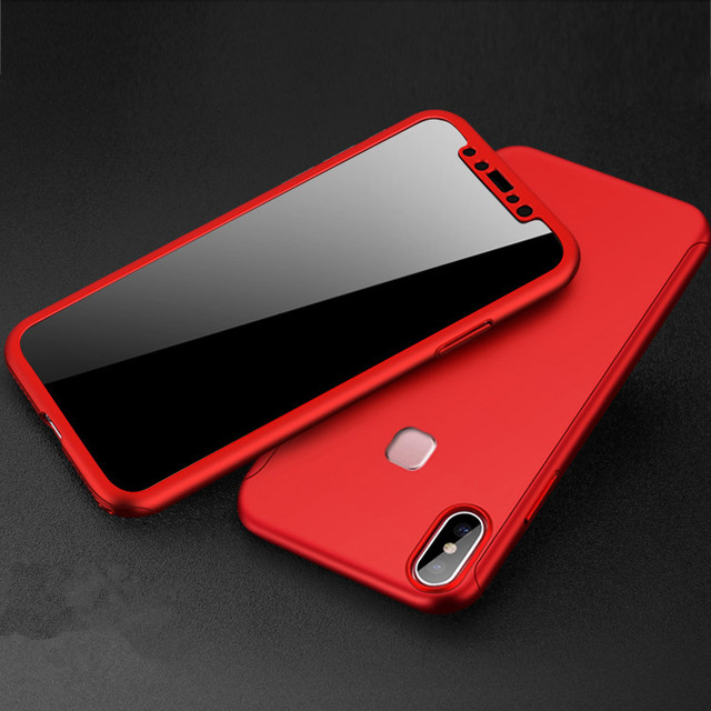 pretty nice eca1c 242d6 US $2.69 10% OFF|360 Full Cover Case for Vivo V9 Vivo Y85 Case Phone Back  Cover Funda with Tempered Glass-in Fitted Cases from Cellphones & ...