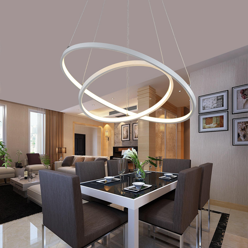 LED Chandelier Lighting White Rings Circle Led Chandelier Modern For Living room Dining room Kitchen Restaurant Lampara de techo rings white black chandeliers led circle modern chandelier lights for living room avize acrylic lampara de techo indoor lighting