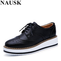 NAUSK 2018 Spring Women Platform Shoes Woman Brogue Patent Leather Flats Lace Up Footwear Female Flat Oxford Shoes For Women