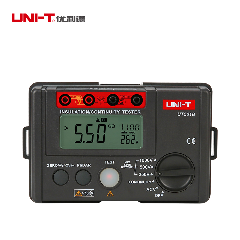 UNI-T UT501B Digital Insulation Resistance Testers Ground Meter Megohmmeter Voltmeter w/LCD Backlight Earth Tester Megger uni t ut206a 1000a digital clamp meters earth ground megohmmeter multimeter voltage current resistance insulation tester
