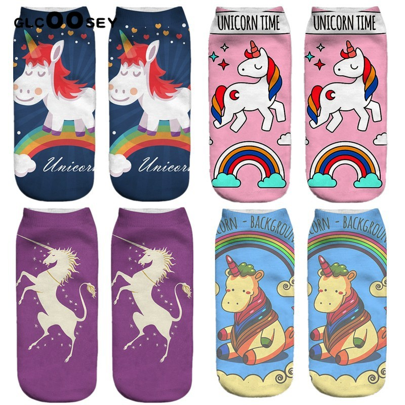 Summer 1 Pairs 3D Unicorn Printed Ladies Female Adult Socks Harajuku Style Animal Women Girls Funny Cute Socks Pony EU 34-42