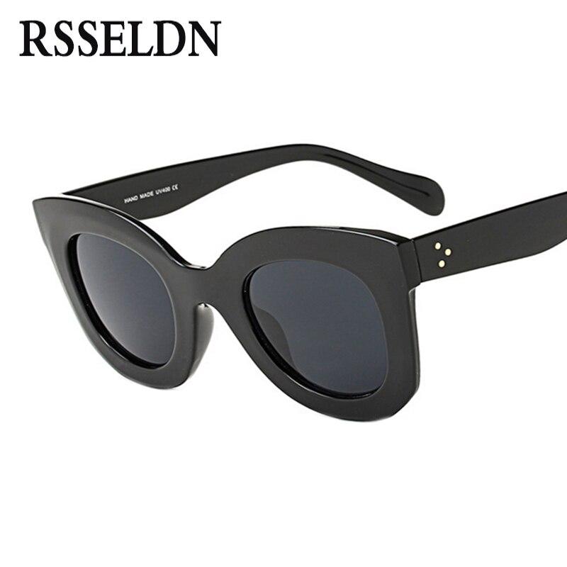 RSSELDN Fashion Sunglasses Women Luxury Brand Designer Vintage Sun glasses Female Rivet Shades Cat eye Glasses For Women UV400