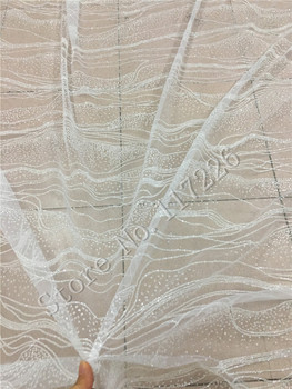 glued glitter african Tulle lace JRB-72214 for nice dress modern design french net lace fabric in clear white color