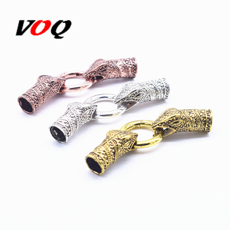 Antique Silver Gold And Rose Gold 1 Set Snake Head Clasps Connector For Fermoir Bracelet Diy Jewelry Making Inner Size 10mm