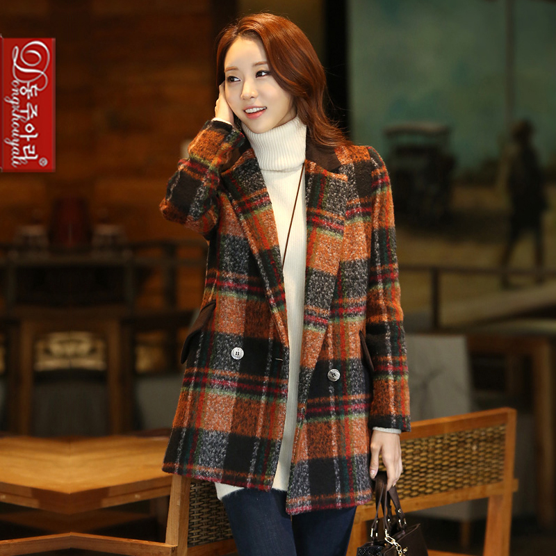 winter women double breasted long coat plus size plaid woolen outerwear design lady patchwork overcoat - Fashion and Romantic Store store
