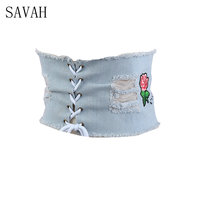 2017European And American Cowboy Girdle Waist Belt Embroidery Roses Embroidery The Five Star Cowboy Hole