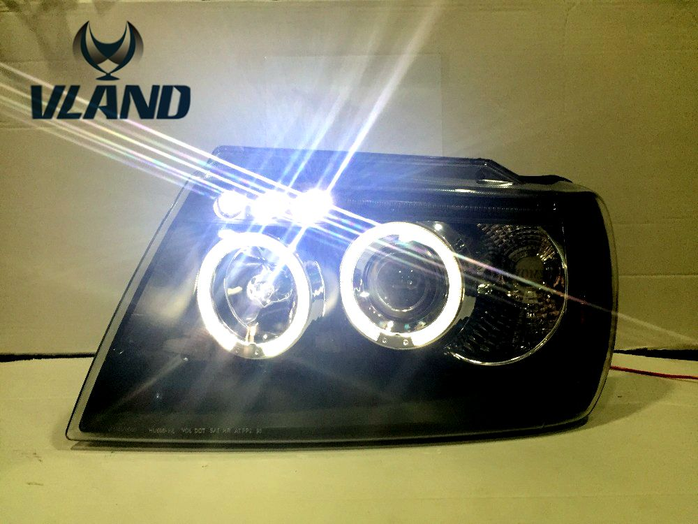 Free shipping for car head lamp for Jeep for Grand Cherokee LED headlight With angel eyes H7 or D2H xenon lamp