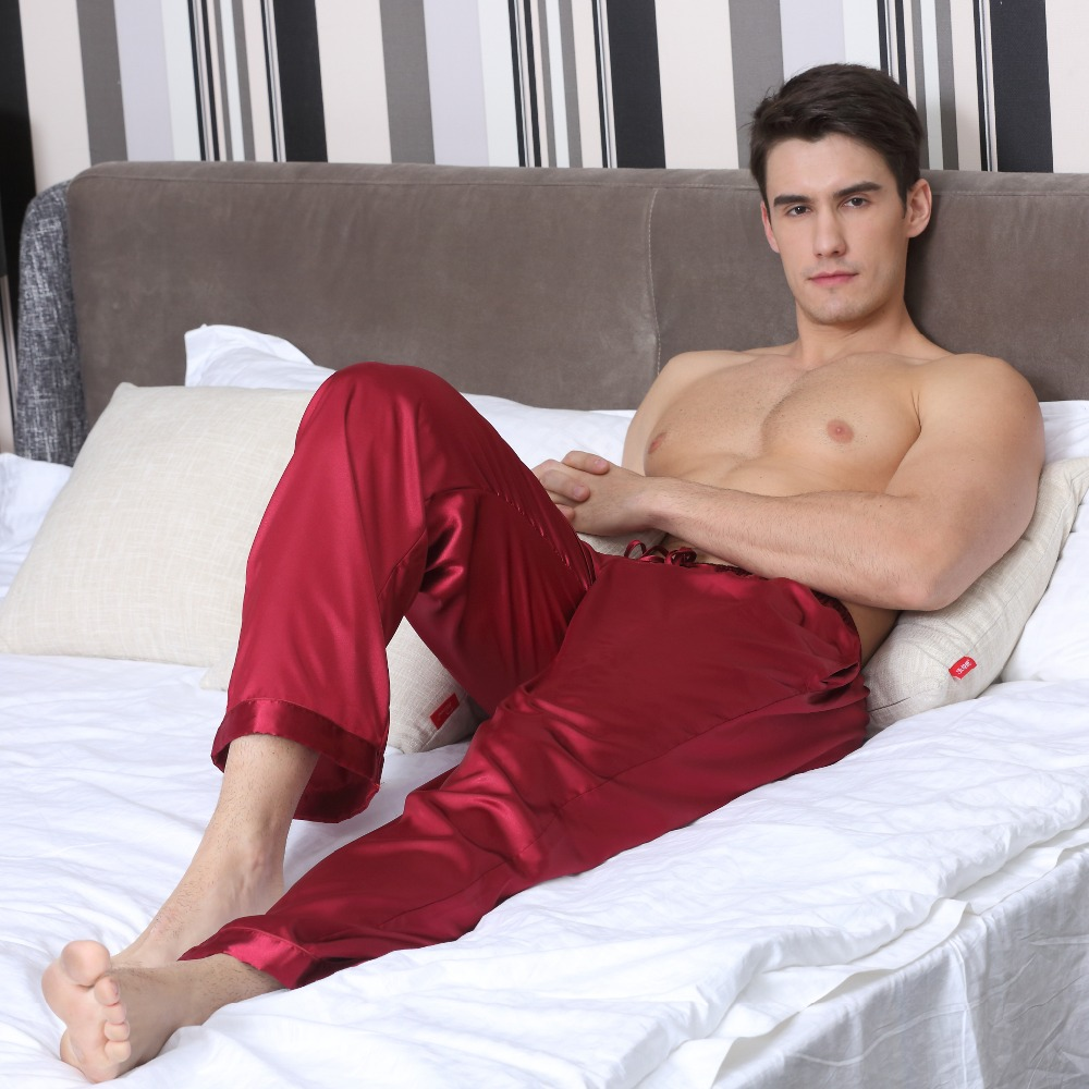 Tony&Candice Pajama Pants Men Satin Silk Sleep Bottoms Casual Trousers Male Sleepwear Mens Long Lounge Pyjamas Soft Underwear