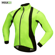 WOSAWE Autumn Winter Windproof Waterproof Mens Cycling Jacket with Thermal Fleece Road Mountain Bike Bicycle MTB Coat Clothing