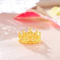 Однотонное кольцо из желтого золота 24 K, женское модное кольцо с полой короной из 999 золота