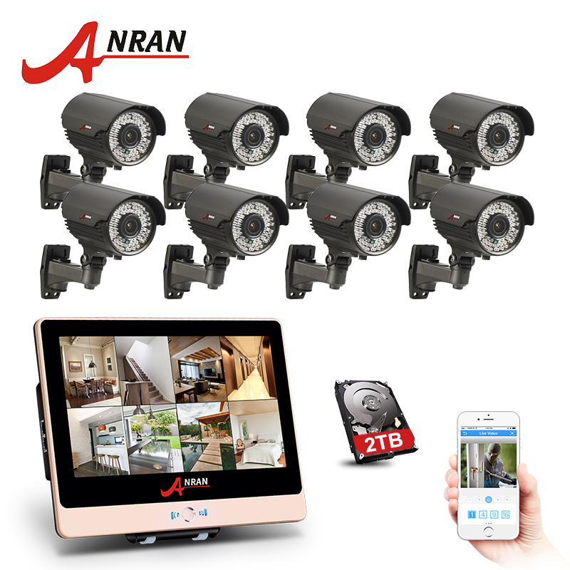 все цены на ANRAN Plug Play 8CH 1080P 12 Inch LCD Monitor POE NVR Home Security System 78 IR 2.8-12MM lens Outdoor CCTV Camera HDD Optional онлайн