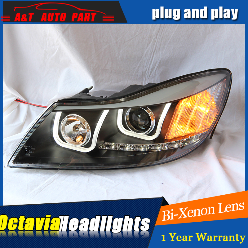 car Styling LED Head Lamp for Skoda Octavia led headlights 2010-2012 drl H7 hid Bi-Xenon Lens angel eye low beam hid kit auto part style led head lamp for bmw 5 series led headlights for 520li 525li drl h7 hid bi xenon lens angel eye low beam