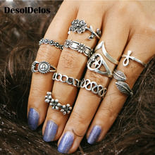 11pcs/Set Vintage Beach Ring Punk Hollow Moon Sun Flower Leaf Rings Set Carved Boho Midi Finger Knuckle anelli Anillos