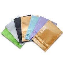 500pcs Glossy/Matte Colorful Aluminium Zip Lock Foil Packing Bags Small Resealable Zipper Ziplock Metallic Food Storage Pack Bag
