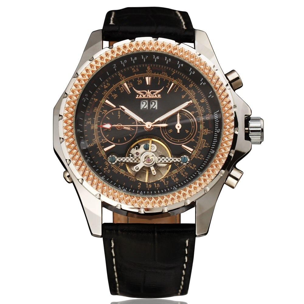 Мужские наручные механические часы JARAGAR Tourbillon, чехол сетка с циферблатом на неделю и календаре, ремешок из натуральной кожи