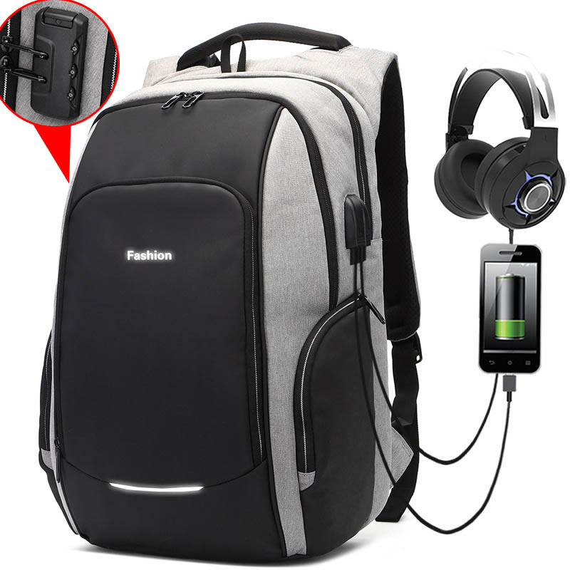 Multifunction 15.6 Inch Laptop Backpack Travel Bag For Men Women Water-Resistant With Usb Business Backpack School Rucksack Gray