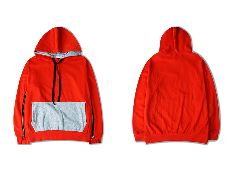 Zipper Sleeve Color Block Hoodies 2