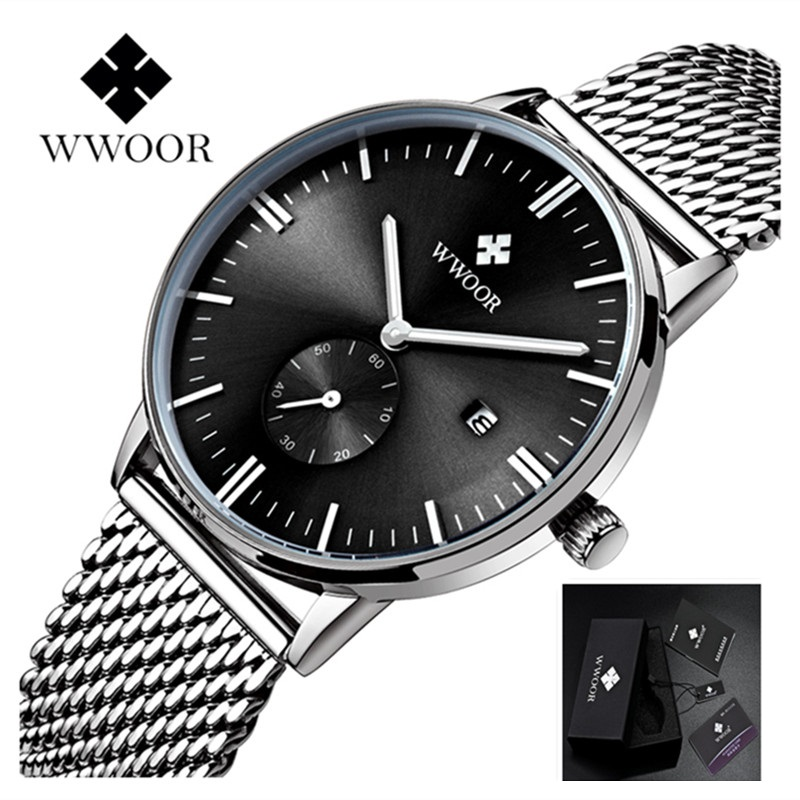Men's Watches Luxury Brand WWOOR Men Watch Fashion Sports Quartz Watches Stainless Steel Mesh Strap Ultra Thin Dial Date Clock luxury brand watches men quartz clock wach ultra thin stainless steel mesh strap gold wristwatch box waterproof sport watch men