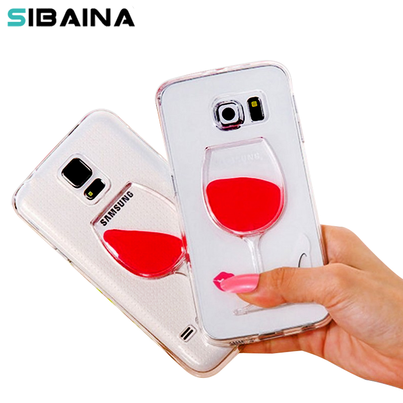 Red Wine Cup Liquid Transparent Soft silicone Case for Samsung Galaxy J1 J5 J7 A3 A5 2016 S4 S6 S6edge S7 S7edge note 5 capinhas